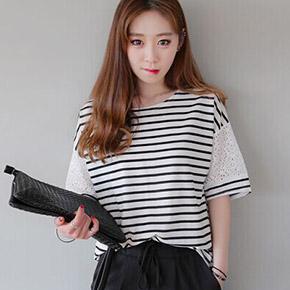 蕾絲條紋寬鬆短袖T恤
