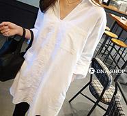 BF風寬鬆V領口袋長版白襯衫