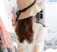 春季氛圍.大帽沿遮陽草編帽