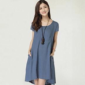 韓版亞麻連身裙棉麻裙子(4色)