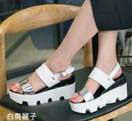 銀河系拼色楔型厚底涼鞋