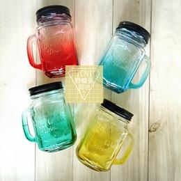 彩色創意漸層浮雕把手梅森瓶