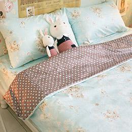天藍小玫瑰單人床包2件組