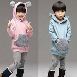 小熊耳朵連帽純色棉套裝