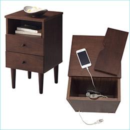 胡桃木色床頭櫃
