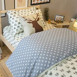 藍色星星法鬥 - 舒適磨毛布床組