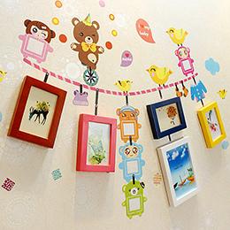 5框小熊兒童壁貼相框牆