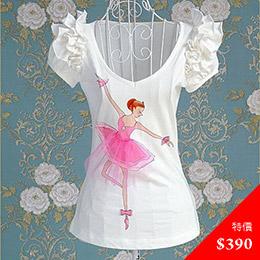 芭蕾女孩印花T-shirt