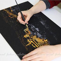 金色城市夜景圖鴉刮畫