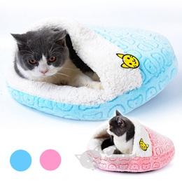 【日本Sanmate】喵喵睡袋貓窩M - 粉 / 藍 / 貓窩睡床抗寒