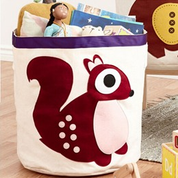 卡通動物可折疊收納桶-松鼠