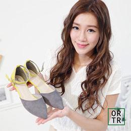 尖頭雙色拼接繫踝涼鞋(個性灰)