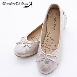 台灣製金屬Logo蝴蝶結菱紋娃娃鞋