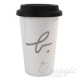 agnes b. logo陶瓷馬克杯/白底黑蓋款
