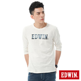 EDWIN 牛仔紋路LOGO 長袖T恤