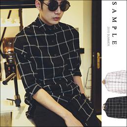 加厚棉麻 窗型格紋長版襯衫