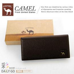 CAMEL卡梅爾-駱駝 真皮 男款咖啡長夾
