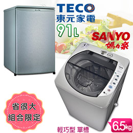 SANYO媽媽樂6.5kg輕巧型單槽洗衣機+TECO小鮮綠系列91L單門冰箱