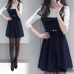 假兩件式拼接蕾絲圓領連身裙