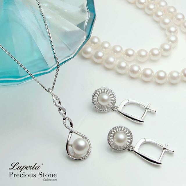 純銀晶鑽珍珠項鍊耳環套組