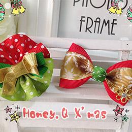 耶誕喜氣金紅綴雪花蝴蝶結髮夾