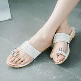 晶鑽波浪感楔型拖鞋