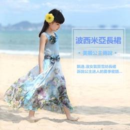 飄逸.浪漫波西米亞花朵雪紡長裙
