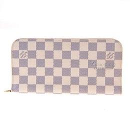 LV白棋盤格紋雙釦長夾