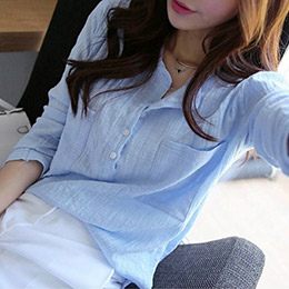 純色開領棉麻長袖襯衫