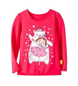 EPK小女生大紅色熊與女孩長袖上衣