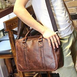 韓版側背包手提包男士單肩包帆布公事包