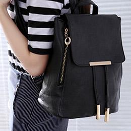 韓版燙金抽帶簡約時尚後背包