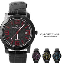 范倫鐵諾格紋設計皮革手錶