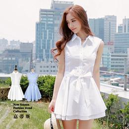 韓版氣質甜美無袖連身洋裝