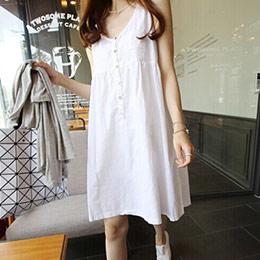 排釦高腰寬鬆無袖洋裝(2色)