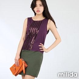 milida獨家撞色拼貼洋裝