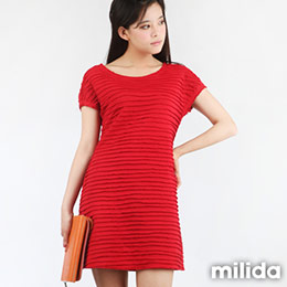 milida橫紋皺褶合身洋裝