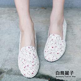 浪漫碎花蕾絲網平底鞋