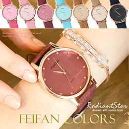 香港FEIFAN梅杜莎紫醉金迷幻影拉絲直紋皮革錶對錶