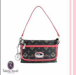 諾貝兔 前蓋桃苺條紋兩用手提包