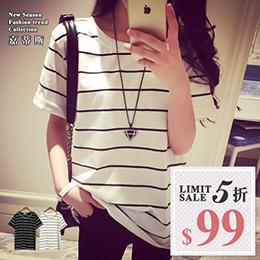 韓版寬鬆條纹短袖T恤