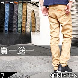 首爾韓國皮標窄版休閒褲