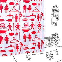 同居公約 (紅) 居家浴簾