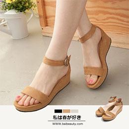 韓版素面繞踝厚底涼鞋