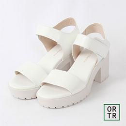 素色皮革粗厚底綁帶涼鞋(3色)