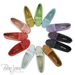全真皮抽繩流蘇莫卡辛鞋(8色)