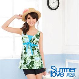 熱帶印花長版三件式泳衣