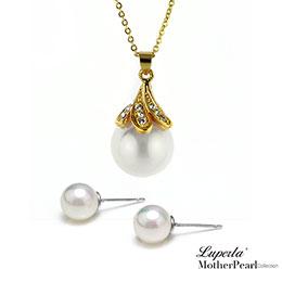 歐巴馬晶鑽貝珠項鍊耳環套組