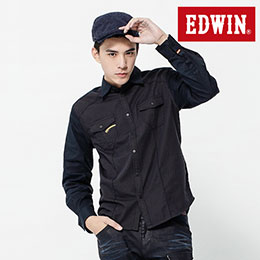 EDWIN 千鳥格紋拼接 長袖襯衫