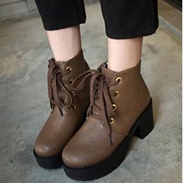 隨性風厚底粗跟短靴